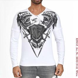 Kingz Herren Long-Shirt Weiß  MOD-39-02