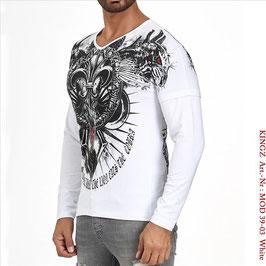 Kingz Herren Long-Shirt Weiß  MOD.39-03