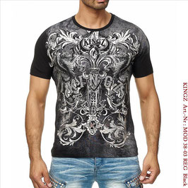 Kingz Herren T-Shirt   MOD-38-03 Black/Silber