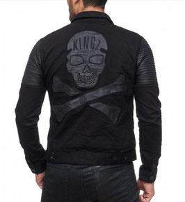 Kingz Herren Jeans Jacke Schwarz  MOD- 1593