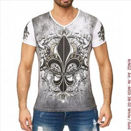 KINGZ  Herren T- Shirt   MOD 38-02 White/Gold