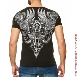 KINGZ  Herren T-Shirt   MOD 38-04 Black/Silver