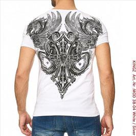 KINGZ  Herren T-Shirt   MOD 38-04 White/Silver