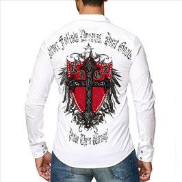 Kingz Herren Hemd Weiß  Slim Fit MOD- 23-59