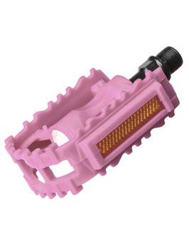 J. pedales MTB infantil plástico rosa - Rod. bolas - 9/16 - 100x75mm