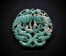 Пара фениксов, резной океанический агат, медальон