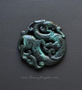 Дракон, резной нефрит, медальон