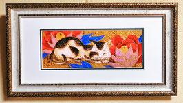 「牡丹の花下の眠り猫」