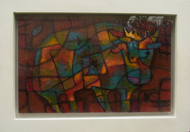 楯とおるアクリル画 「問いかける牛」