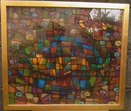 楯とおるアクリル画 「魚の王様」