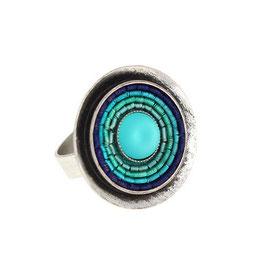 "Ring ""India | blau | Alt-Silber"""
