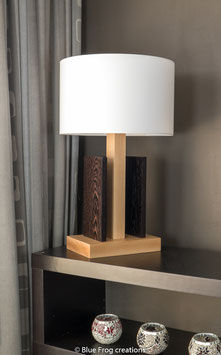 Tafellamp Stiras - Beuk/Wenge - Cilinder Lampenkap