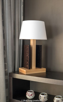 Table Lamp Stiras - Beech/Wenge - Cove Lamp Shade