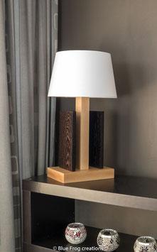 Tafellamp Stiras - Beuk/Wenge - Conische Lampenkap