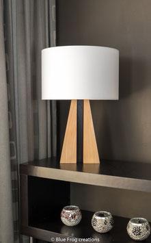Tafellamp Pyramid - Beuk/Wenge - Cilinder Lampenkap