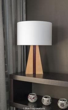 Tafellamp Pyramid - Beuk/Padauk - Cilinder Lampenkap