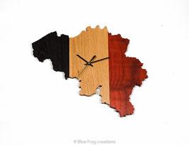 Belgische Kaart Wandklok - Wenge/Eik/Padauk