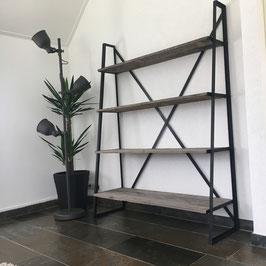Schuine kast zwart staal & sloophout