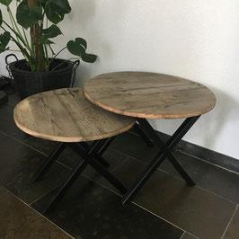 Industriële set ronde salontafels