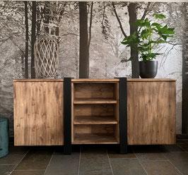 Dressoir speciaal van staal en old wood