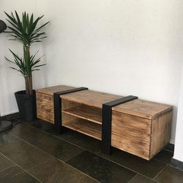 Tv meubel speciaal van staal en old wood