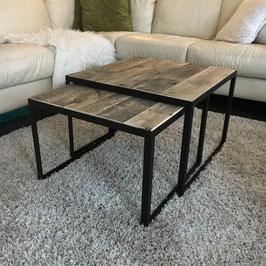 Salontafel set van staal en sloophout