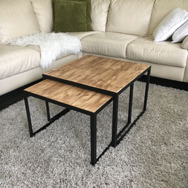 Salontafel set van staal en old wood