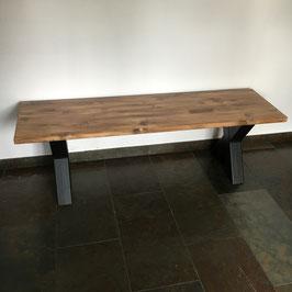 Eetbank zwart staal & old wood