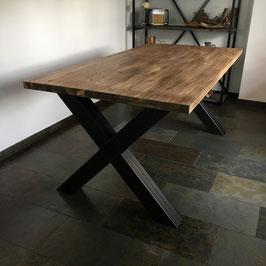 Eettafel zwart staal & old wood.