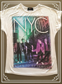 Wit T-shirt met print boys-band - maat 134
