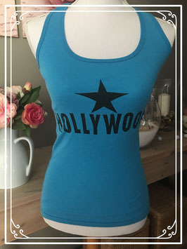 Blauw hemd met tekst 'HOLLYWOOD' van Abercombie - Maat XS
