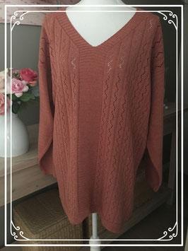 Roestbruin/rode trui met V-hals - Maat 52