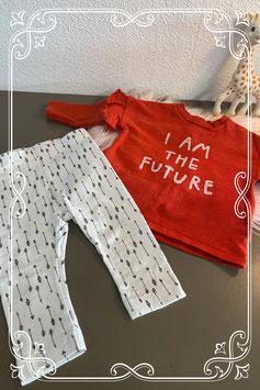 Tweedelig setje in rood en wit van de H&M en Lupilu - maat 62-68