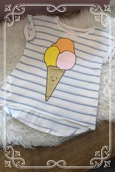 Blauw met wit gestreept ijsjes t-shirt van Cotton kids - Maat 134-140