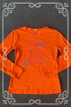 Nieuw! Oranje longsleeve met opdruk maat 158/164