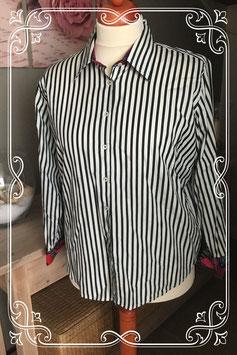 Zwart/wit overhemd van Milano - Maat 52