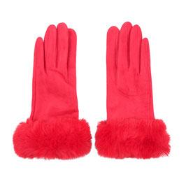 Nieuw: Yehwang - Gloves Fur Lady - Rood - Bont