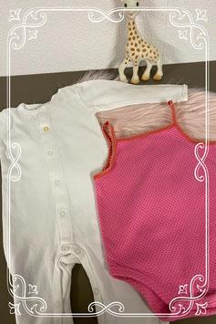 Roze romper en wit box pakje van Hema maat 62/68