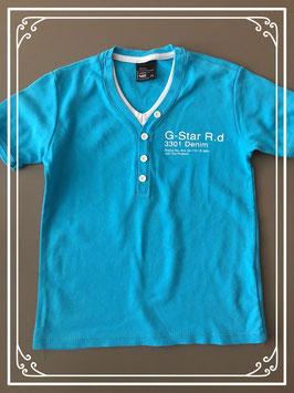 NIEUW!!! Aquablauw tshirt met witte elementen van het merk G star Raw - maat 116