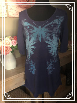 Donkerblauw shirt met lichtblauwe print van Miss Etam - Maat L