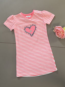 Roze wit gestreept jurkje van Little Bampidano maat 80