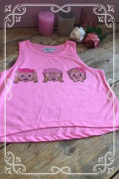 Roze hemd met 3 emoticon aapjes - Maat 122