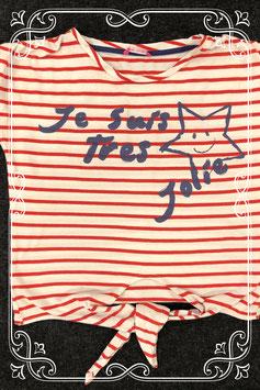 Leuk rood wit gestreept shirt van Hema maat 134/140