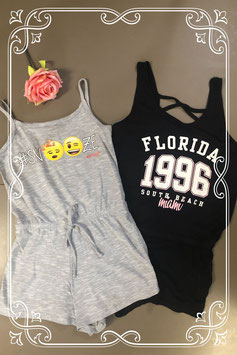 2 zomerse jumpsuits van Emoji en H&M in maat 146