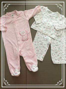 twee schattige roze pyjama's - Maat 68