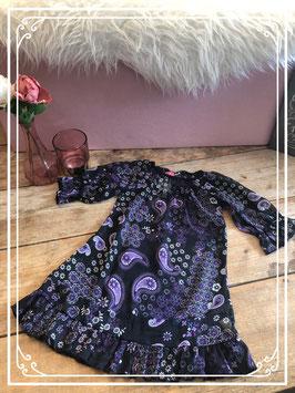 Lange donkere blouse met paarse bloemen van Europe Kids - Maat 110/116