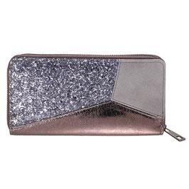 Nieuw:  Yehwang - Wallet Glitter Accent - Grey - 10 x 20 cm