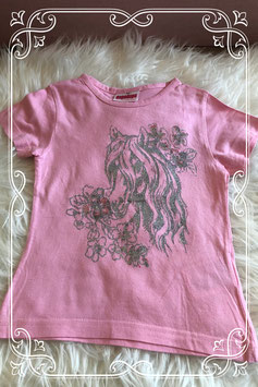 Roze korte mouwen shirt met zilveren glitterprint van Dopodopo - Maat 98