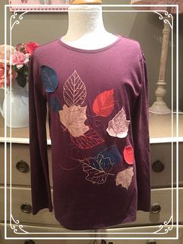 Roestbruin shirt met bladerenmotief van Mexx - maat 146-152