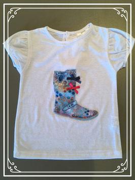 Wit T-shirtje met laarsje - maat 92